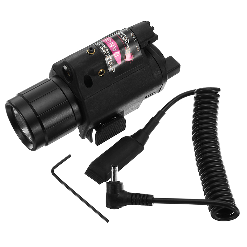 Red Laser Sight Dot Scope 3W LED Flashlight Combo Tactical Picatinny 20mm Rail Mount