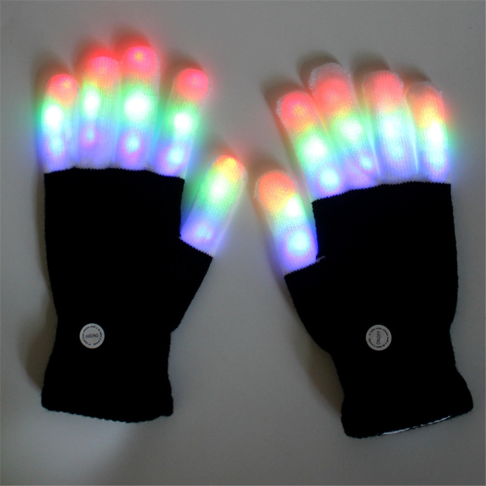 Halloween Colourful Light Glove Dancing Stage LED Palm Light Up Finger Tip Party Supplies