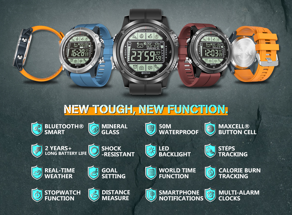 Zeblaze VIBE 3S Absolute Toughness Real-time Weather Display Goals Setting Message Reminder 1.24inch FSTN Full View Display Outdoor Sport Smart Watch