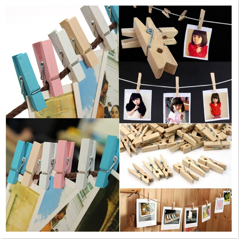 20 Pcs Mini Cute Wooden Photo Pictures Clothes Holder Clips Craft Pegs 4 Colors
