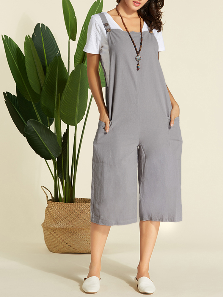 Plus Size Women Cotton Straps Jumpsuit with Pockets