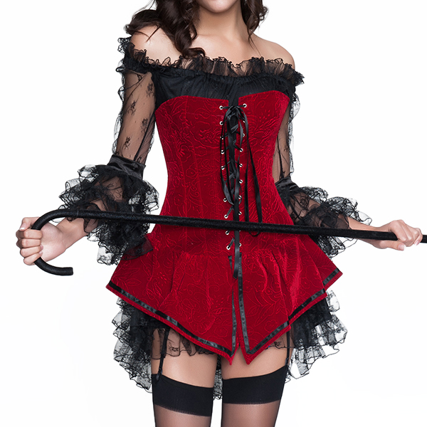 Halloween Costumes Woman Sexy Back Zipper Jacquard Steel Bone Corsets Waist Shaper Bustiers
