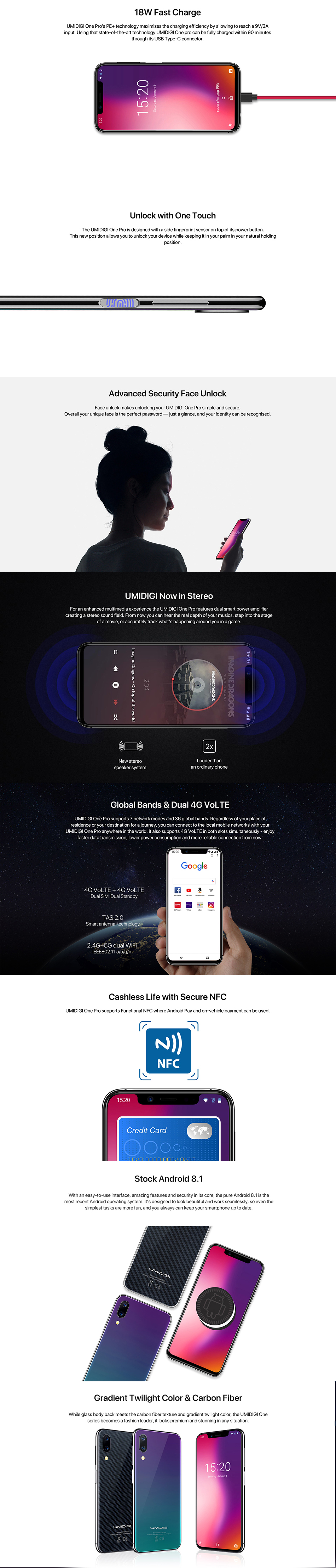 UMIDIGI One Pro 5.9 Inch 15W Wireles Charge Global LTE Band 4GB RAM 64GB ROM Helio P23 4G Smartphone