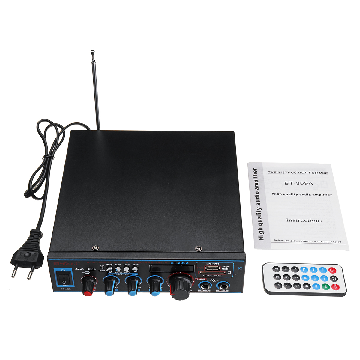 BT-309A 220V-240V DC12V Digital bluetooth Stereo Audio Home And Car Amplifier