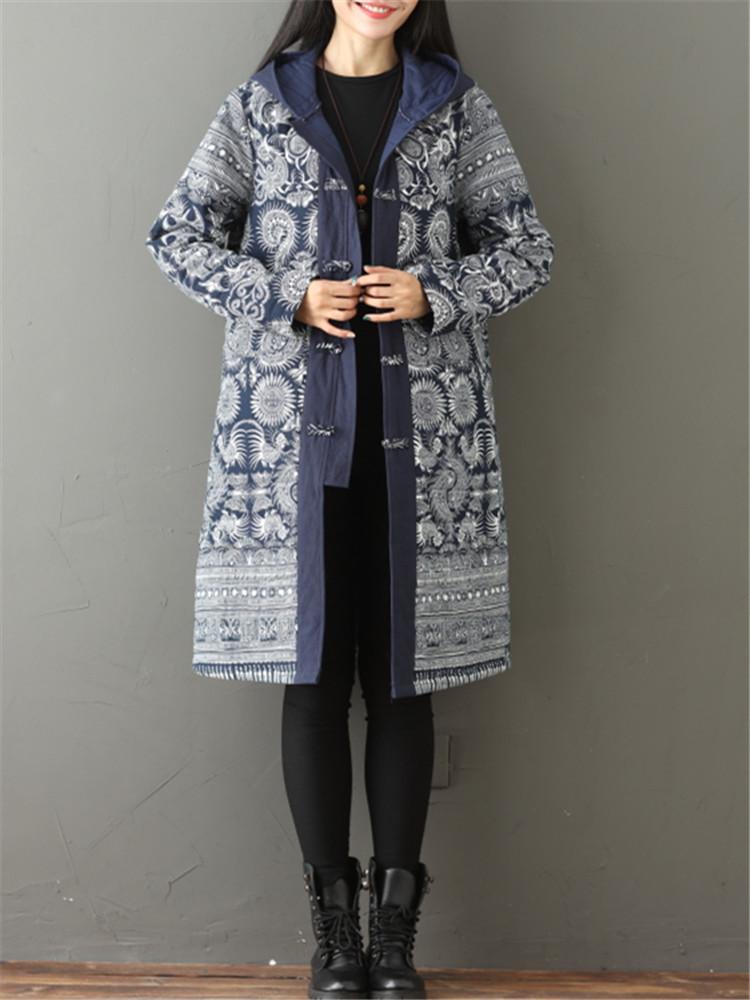 Vintage Printed Thicken Women Hooded Coat