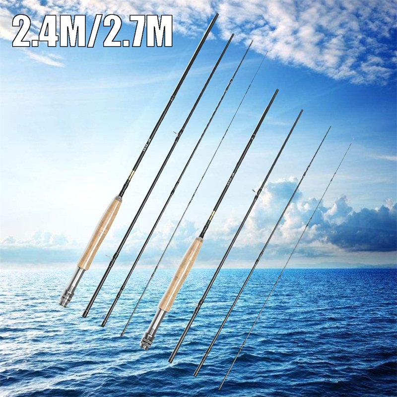 2.4/2.7m Carbon Fly Fishing Rod 4 Sections 3/4 Line Medium-Fast Action Fly Fishing Pole Freshwater