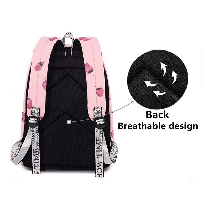 15.6 Inch Teen Girls Student Laptop Bag Pink Strawberry Handbag Travel Backpack Schoolbag