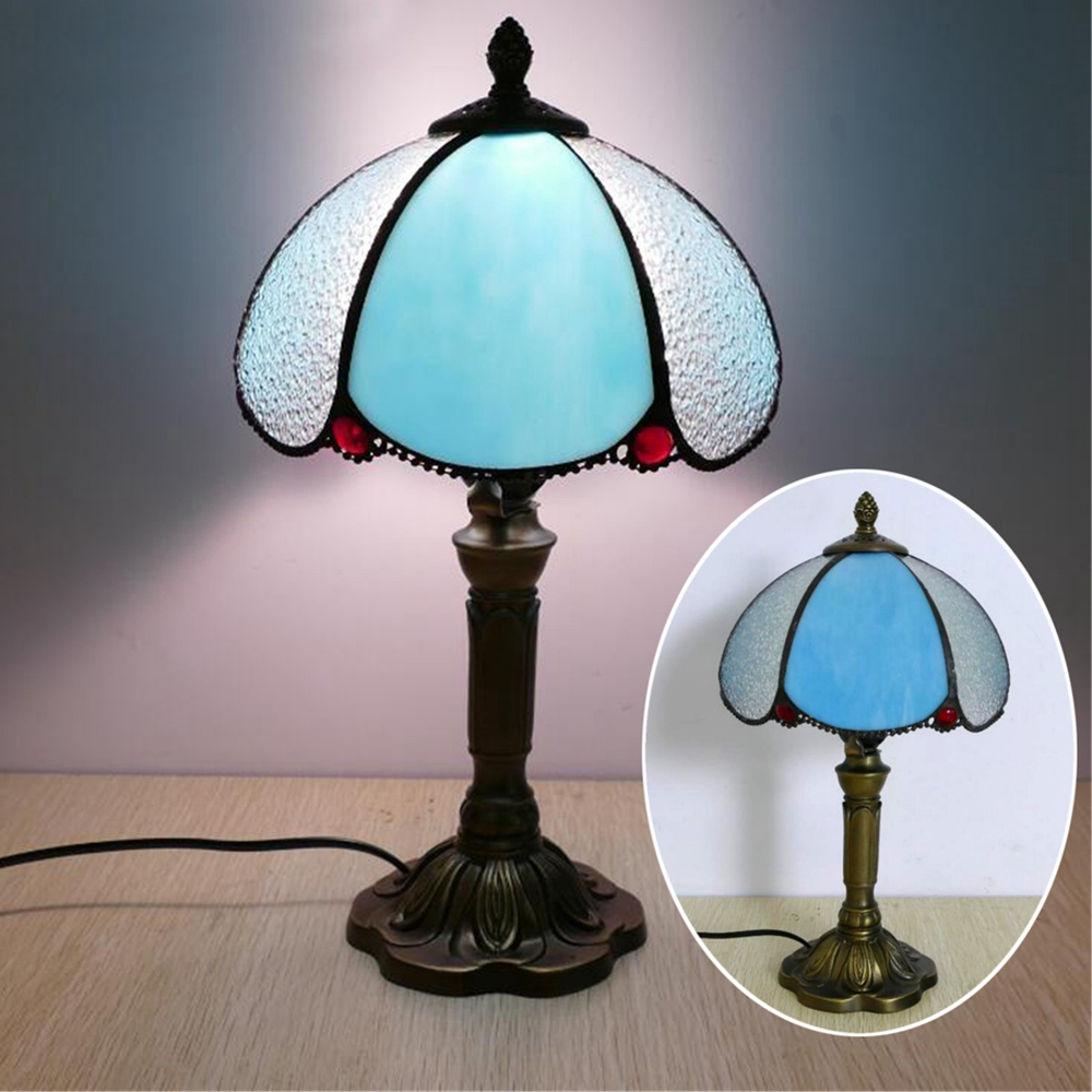 Vintage Style Glass Table Lamp Bedroom Bedside Desk Light Home Decoration