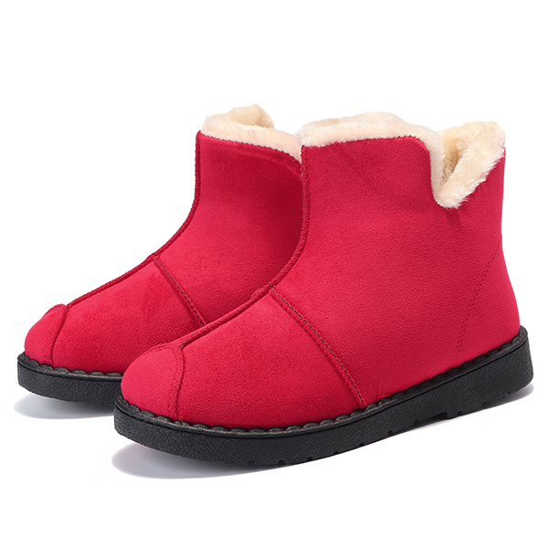 Winter Women Faux Fur Lining Keep Warm Slip On Snow Ankle Boots