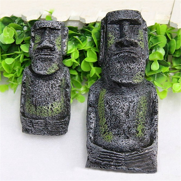 2PCS Resin Easter Island Statues Set Fish Tank Ornament Aquarium Decoration