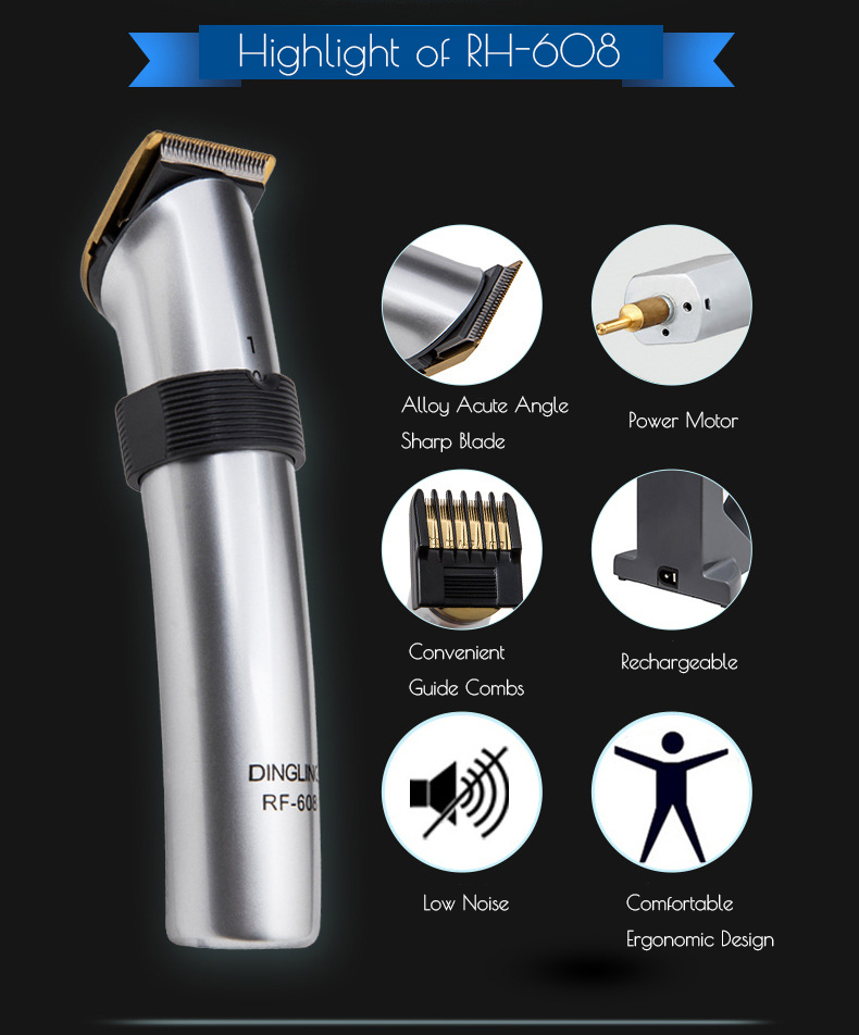 DINGLING RF-608 Electric Hair Clipper Trimmer Rechargeable