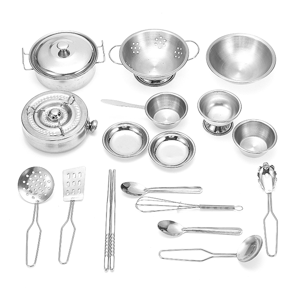 ENPEI 18PCS Kitchen Cooker Set Stainless kitchenware Child Kids Role Play Toy Gift