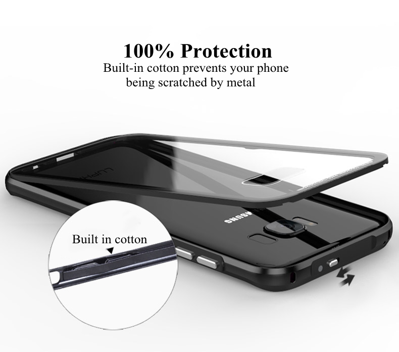 Luphie Metal Bumper+9H Tempered Glass Back Shell For Samsung S8 Plus 6.2