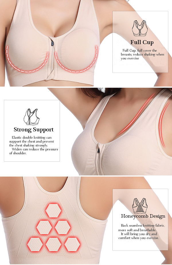 Wire Free Shakeproof Front Zipper Sports Bra