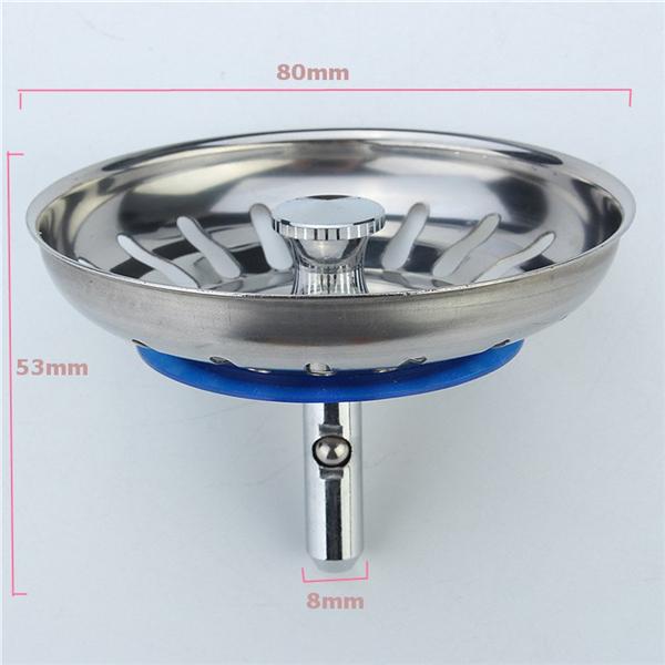 304 Stainless Steel Kitchen Sink Strainer Stopper Waste Plug Sink Filter