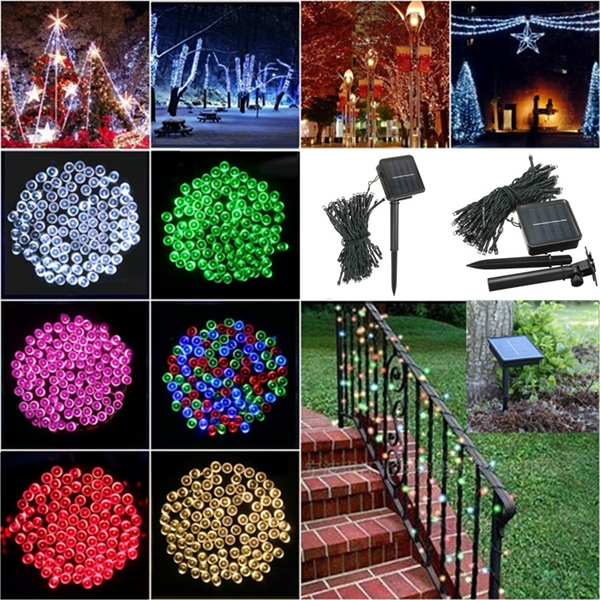 100 LED Solar Powered Fairy String Light Garden Party Decor Christmas