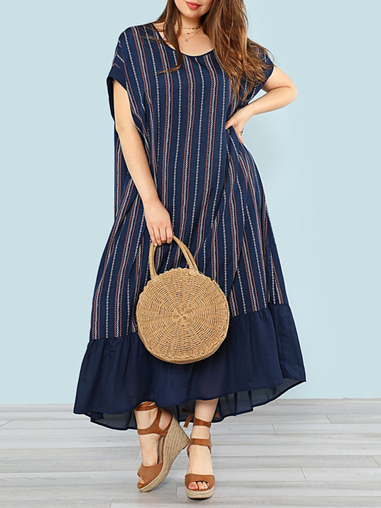 Vintage Women Loose Striped Batwing Sleeve Patchwork Dress