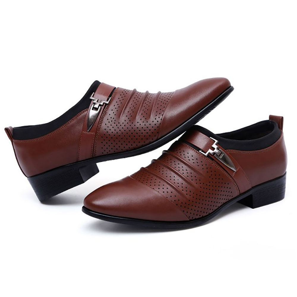 Men Breathable Hollow Outs Leather Formal Business Shoe