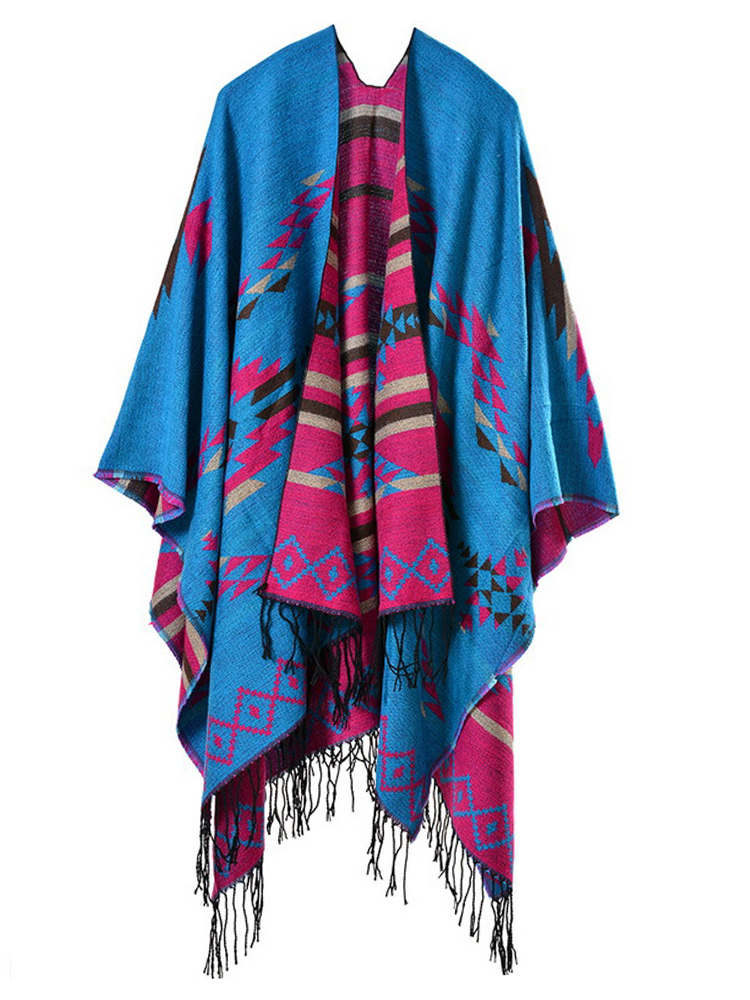 Fashion Women Folk Style Printed Stripe Tassel Lengthen Travel Cloak