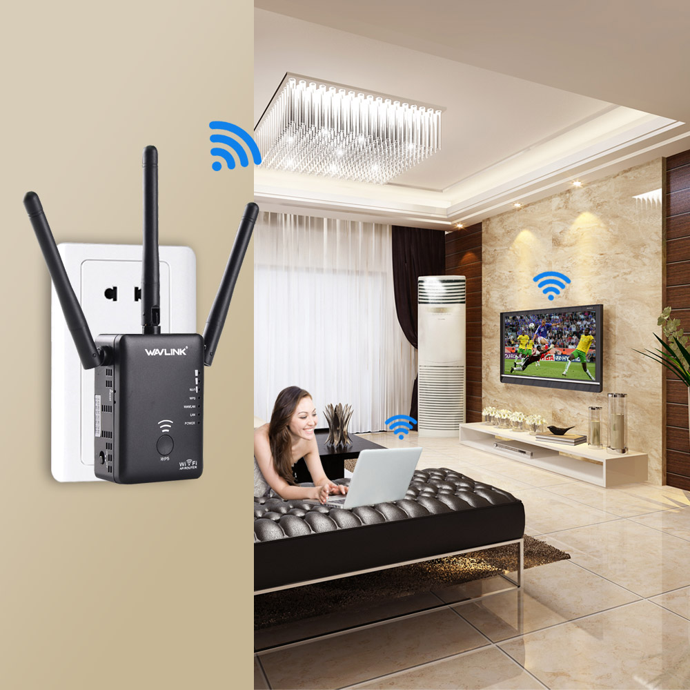Wavlink 750Mbps 5GHz 2.4GHz Wireless Wifi Extender Repeater Router With 3 External Antennas