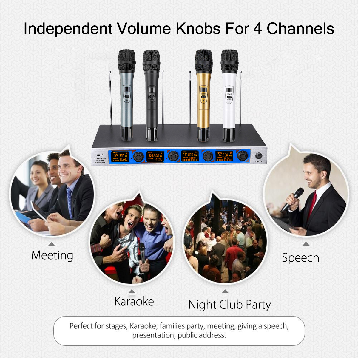 Professional 4 Channel 4 Cordless Handheld Mic UHF Wireless Microphone System Karaoke AU