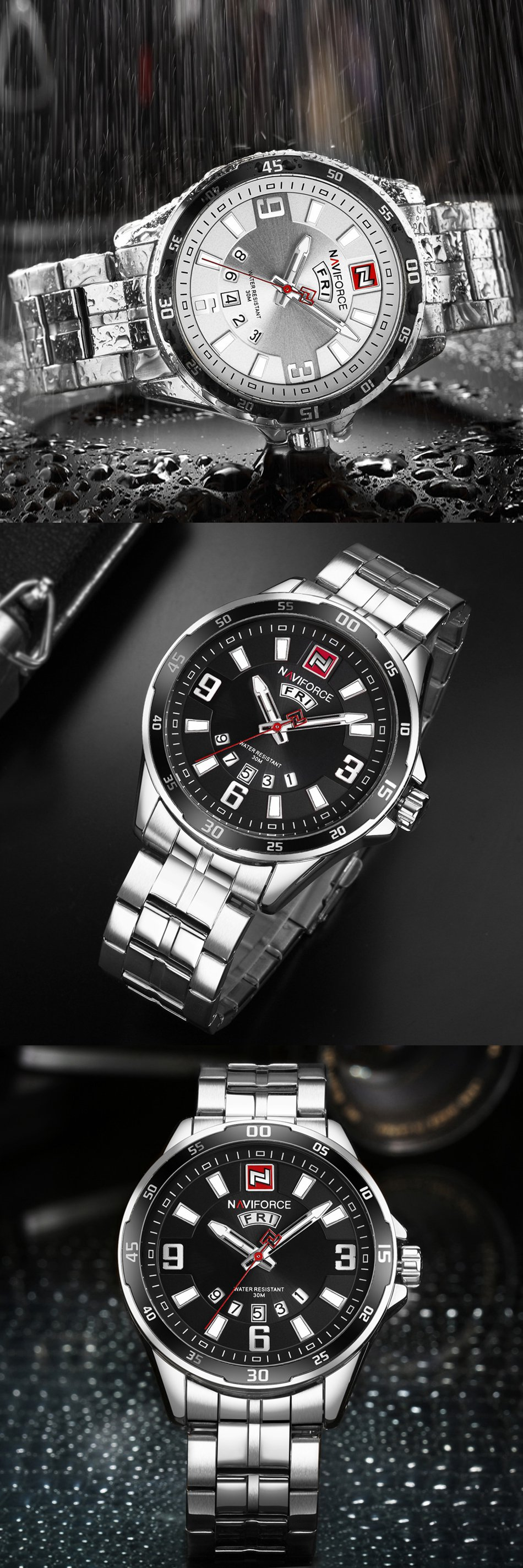 NAVIFORCE 9106 Men Watches Luxury Stainless Steel Strap Male Quartz Wrist Watch