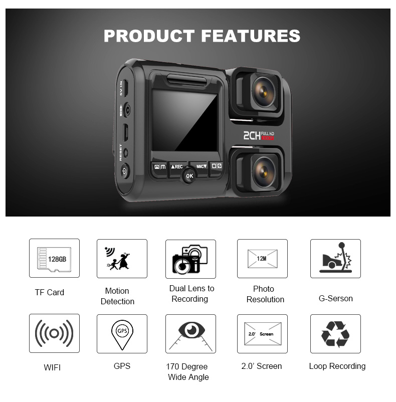 T692C 2.0 Inch 1080P FHD WiFi GPS Dual Lens Parking Monitoring Concealed Car DVR Camera