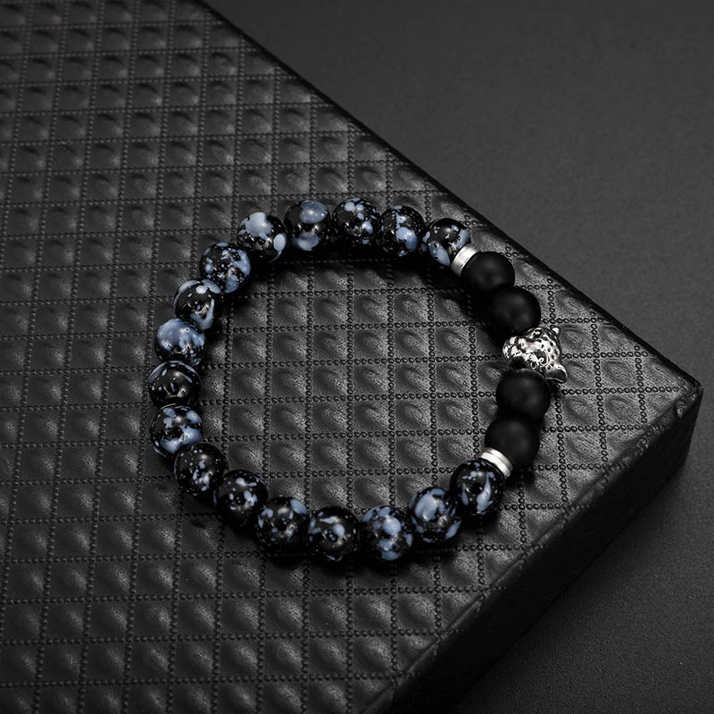 Fashion Men's Beads Bracelet Leopard Natural Stone