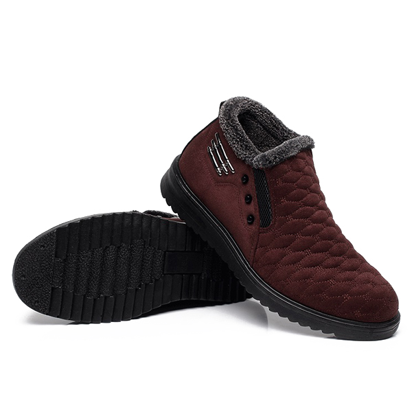 Men Cotton Boots Fur Lining Casual Outdoor Keep Warm Flat Shoes