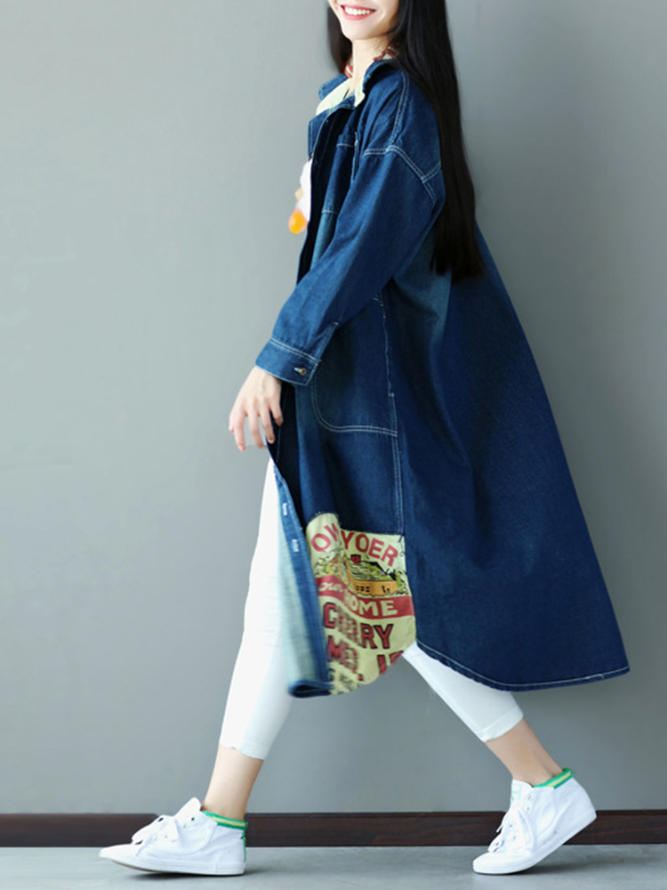 Plus Size Casual Women Denim Long Coats