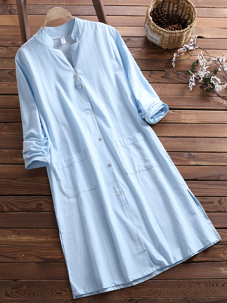 Vintage Women Cotton Long Sleeve Button Dress with Pocket