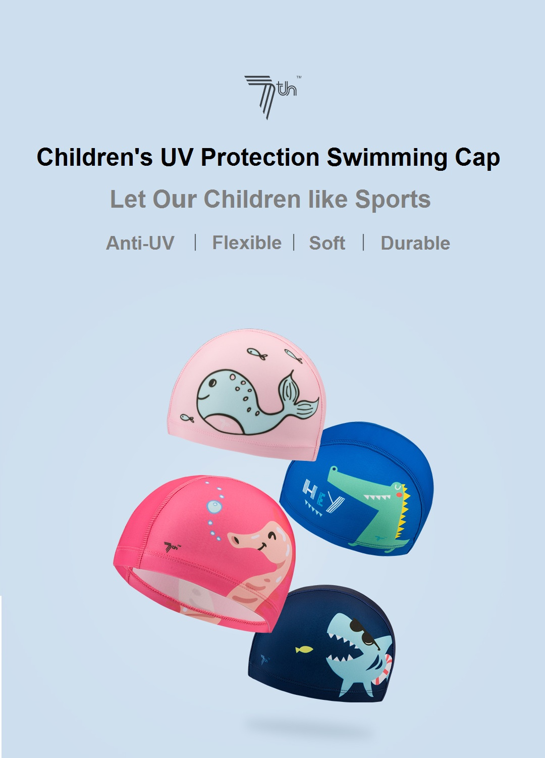 7th Children's Swimming Cap Anti-UV Flexible Soft Durble Quick Drying Swim Protective Gear From Xiaomi Youpin