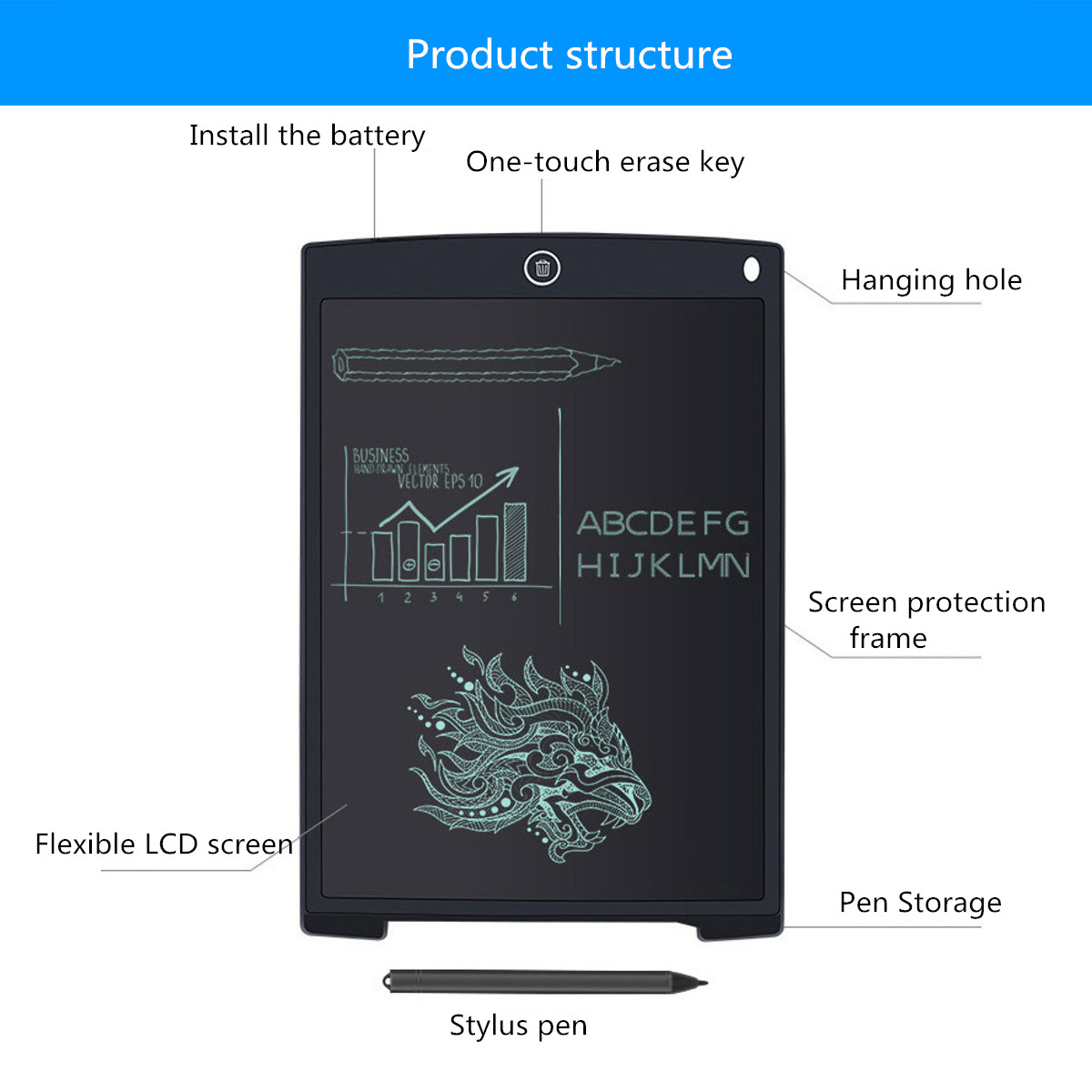 8.5Inch Electronic Digital LCD Writing Pad Tablet Drawing Graphics Board Notepad With Stylus Pen