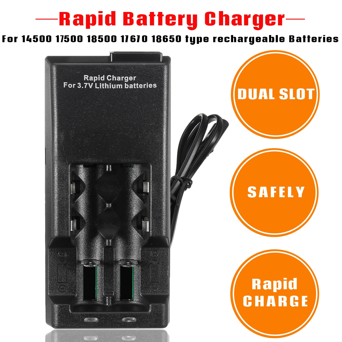 Rapid Dual Slot Battery Charger For 14500 17500 18500 17670 18650 Lithium Batteries
