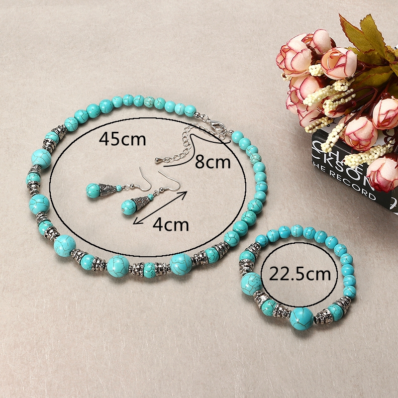 JASSY® Platinum Plated Turquoise Beads Retro Ethnic Fine Jewelry Set Best Gifts for Women