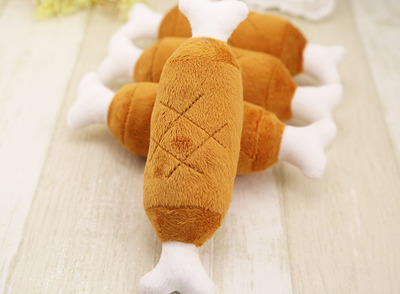 Velvet Pet Dog Cat Chicken Legs Plush Toys Interactive