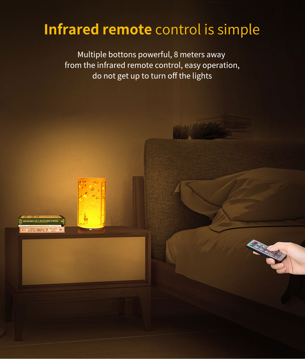 1PC New LED Retro Creative Parchment Carved Table Lamp Infrared Remote Control Battery Driven USB Charging Atmosphere Fashion Bedside Lamp for Coffee Birthday Gift Christmas Wedding Party Decorations