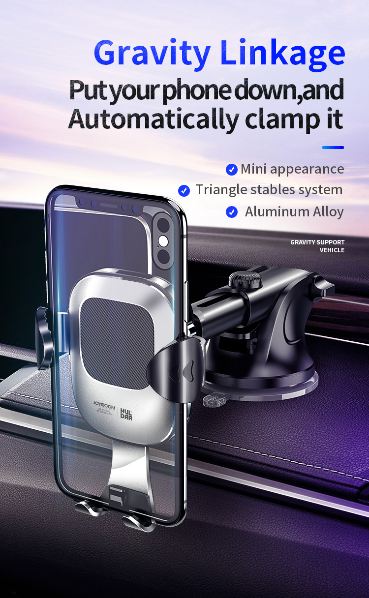 Joyroom Gravity Linkage Automatic Lock Dashboard 360º Rotation Suction Cup Car Phone Holder For 4.0-6.5 Inch Smart Phone
