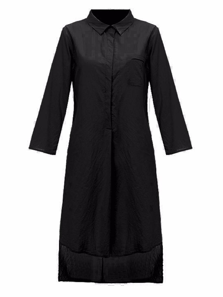 Casual Women Pure Color Lapel 3/4 Sleeve High Low Split Long Blouse