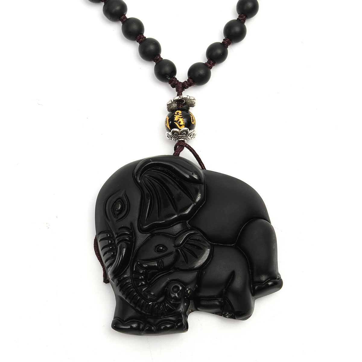 Black Obsidian Lucky Elephant Pendant Hand Carved Beads Necklace