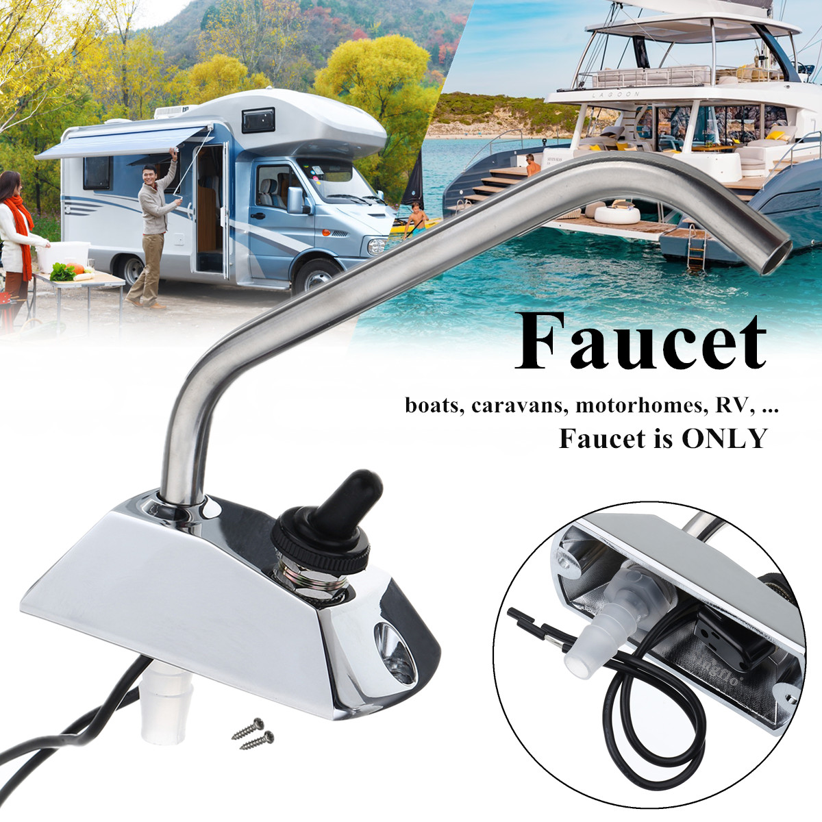 12V Galley Electric Car Water Pump Tap Faucet Caravan Boat