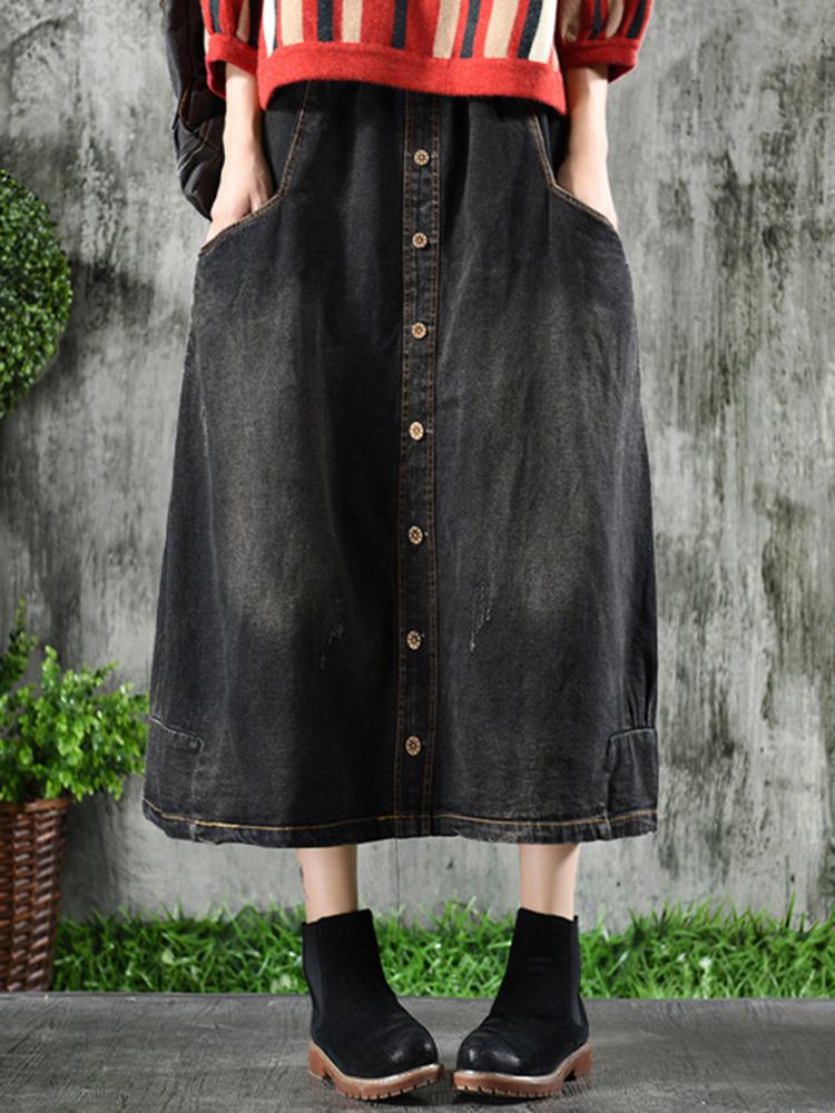 Vintage Women Elastic Waist Button Denim Skirts with Pockets