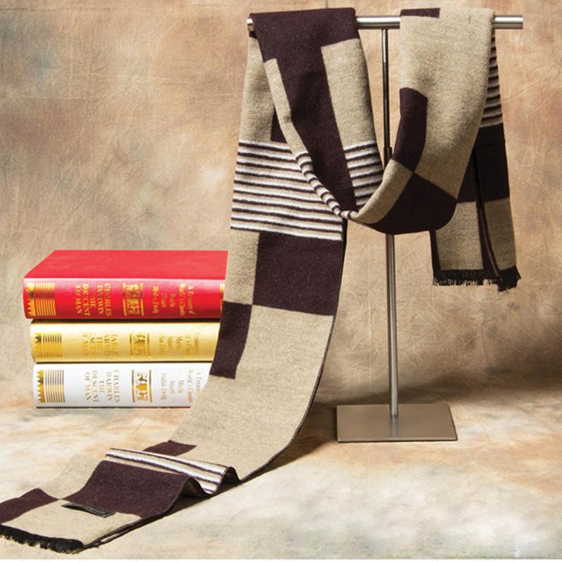 Plaid Stripe Cashmere Scarf for Men