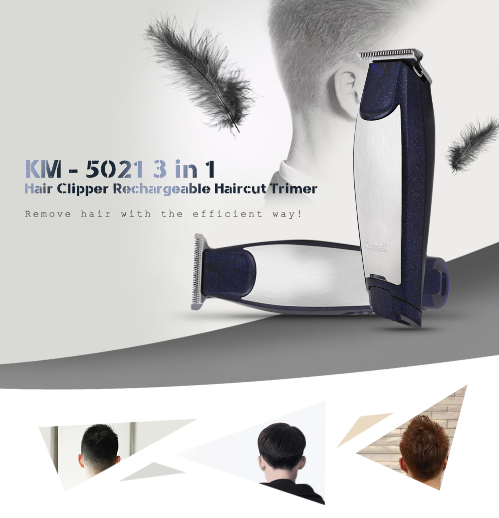 Kemei KM-5021 3 In 1 Hair Clipper Professional Rechargeable Hair Trimmers Clipper Baby Hair Care