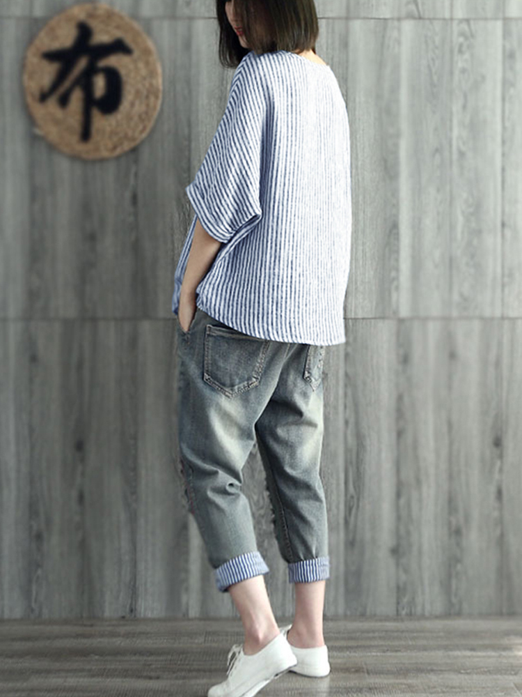 Women Vintage Striped Batwing Sleeve Baggy Blouse