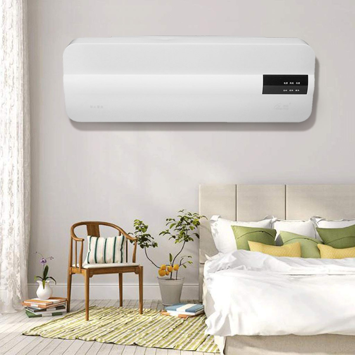 2 In 1 Wall Mounted Air Condition Fan Electric Heater Cool & Warm