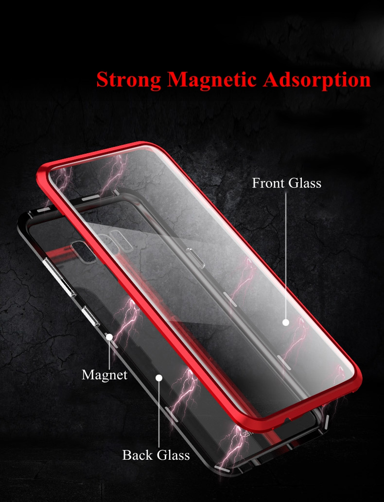 360º Full Body Magnetic Adsorption Protective Case For Samsung Galaxy S8/S8 Plus/Note 8 Aluminum Alloy Glass Cover