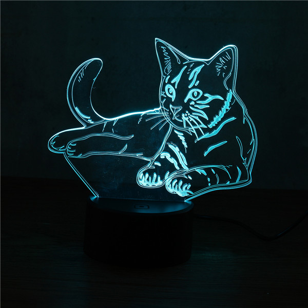 3D Cute Cat Night Light USB Charge Touch Control 7 Color Change LED Desk Lamp Room Decor Gift