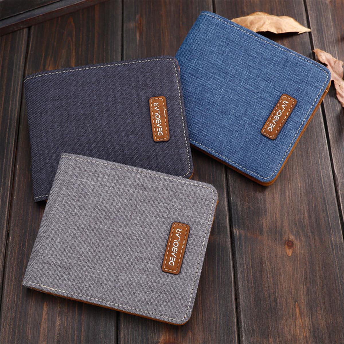 Men Canvas Slim Billfold Wallet Clutch Handbag Credit Card Purse Holder