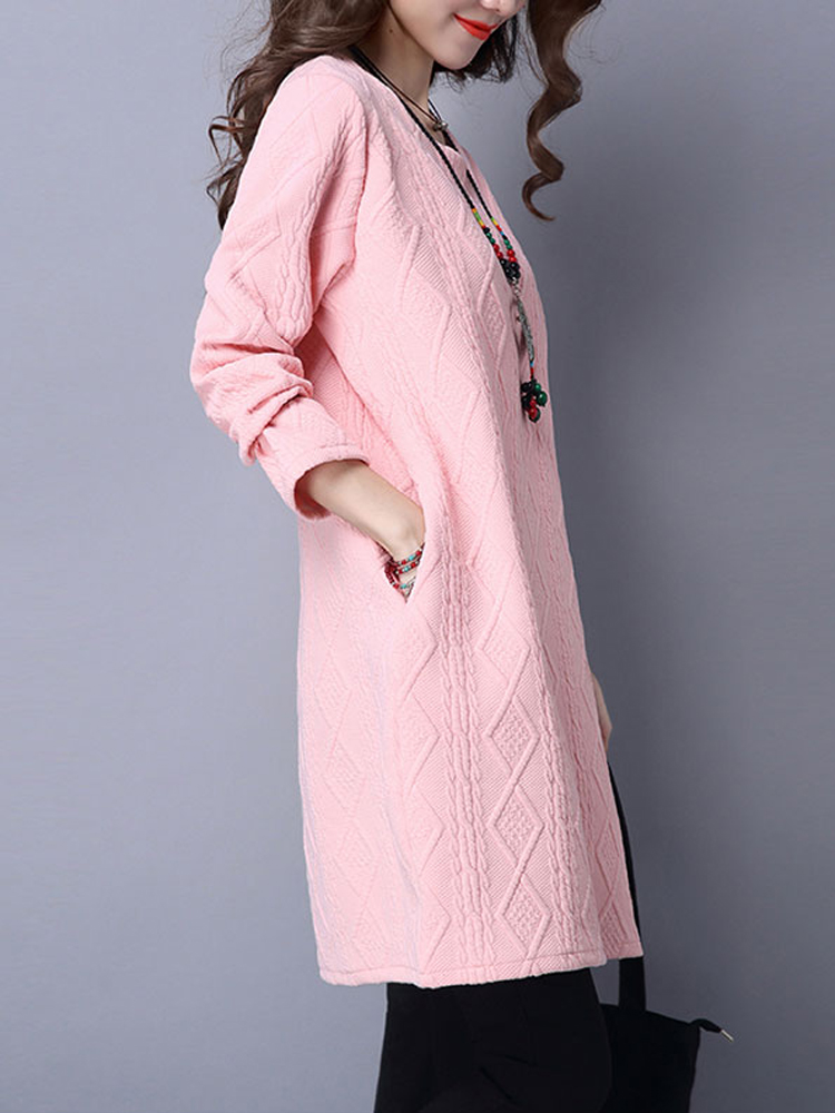 Vintage Winter Solid Color Long Sleeve Loose Women Dress